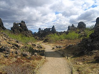 Dimmuborgir large area of unusually shaped lava fields east of Mývatn in Iceland