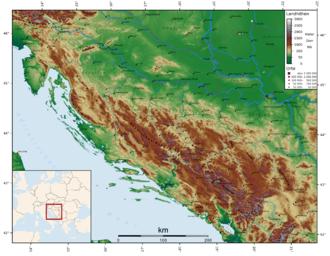 Dinaric Alps - Image: Dinarisches Gebirge Topo