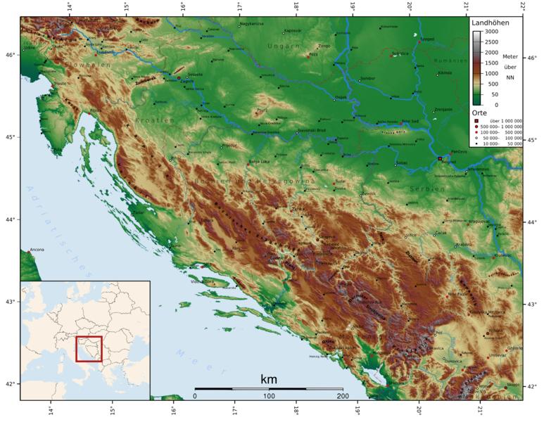 Dinarisches Gebirge Topographie