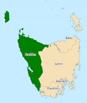 Division of Braddon - Division of Braddon in Tasmania, as of the 2016 federal election.