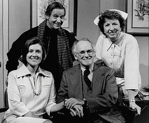 Mary Wickes - With cast of Doc. Standing, L-R: Irwin Corey and Mary Wickes. Seated: Elizabeth Wilson and Barnard Hughes (1975)