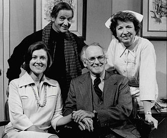 Barnard Hughes - With cast of Doc. Standing, L-R: Irwin Corey and Mary Wickes. Seated: Elizabeth Wilson and Barnard Hughes (1975)