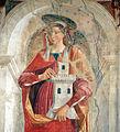 Domenico ghirlandaio, Santi Girolamo, Barbara e Antonio Abate, 1471-72, barbara 03.JPG
