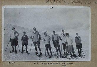 Mürren - Donald Clive Anderson skiing with Wellie Vaughan, Jim Wild, Xine, Soko in Murren, Switzerland Winter 1920 - 1921