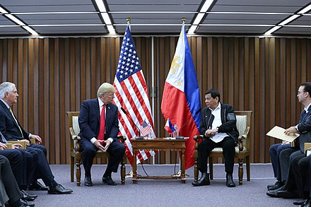 President Rodrigo Duterte and U.S. President Donald Trump discuss matters during a bilateral meeting in Pasay, November 2017. Donald Trump and Rodrigo Duterte in Manila (6).jpg