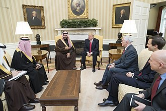 Pence and Trump with Crown Prince of Saudi Arabia Mohammad bin Salman on March 14, 2017 Donald Trump meets with Mohammed bin Salman bin Abdulaziz Al Saud, March 2017.jpg