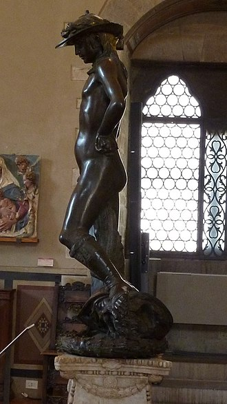 David (Donatello) - Left side of Donatello's David.