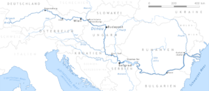 Map of the Danube (name places in German)