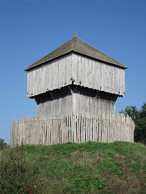 Blockhouse - Reconstructed European wooden keep at Saint-Sylvain-d'Anjou, France, has a strong resemblance to a North American western frontier log blockhouse