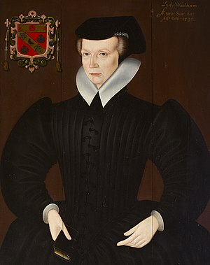 Dorothy Wadham - 1595 Portrait of Dorothy Wadham, aged 60 in 1595, with arms of Petre. British (English) School. Egremont Collection, Petworth House, Sussex, a seat of the Wyndham family, Earls of Egremont, eventual heirs of her husband Nicholas Wadham
