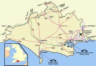 The A354 and A353 roads, Condor Ferries, and the South Western and Heart of Wessex lines link to Weymouth.
