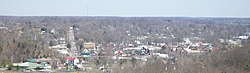 Downtown Corydon Indiana viewed from the Pilot Knob in the Hayswood Nature Reserve