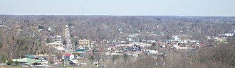 Corydon, Indiana - Downtown Corydon Indiana viewed from the Pilot Knob in the Hayswood Nature Reserve