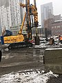 Drilling foundations that will support a personnel footbridge spanning across the future LIRR Mid-day Storage Yard. (CQ033, 03-13-2018) (25956501457).jpg