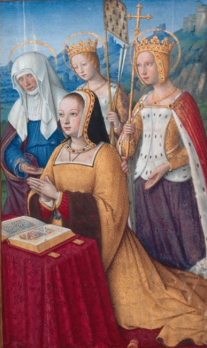 Grandes Heures of Anne of Brittany - Anne of Brittany with her patron saints, Anne, Ursula (with the arms of Brittany on a pennant) and Catherine. This scene is on folio 3.