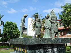 Statues of Koxinga and Dutch emissary at Chihkan Tower, the site where Fort Provintia once stood.