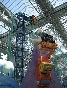 Photograph of the entrance and lift hill of the SpongeBob SquarePants Rock Bottom Plunge ride at the Mall of America.