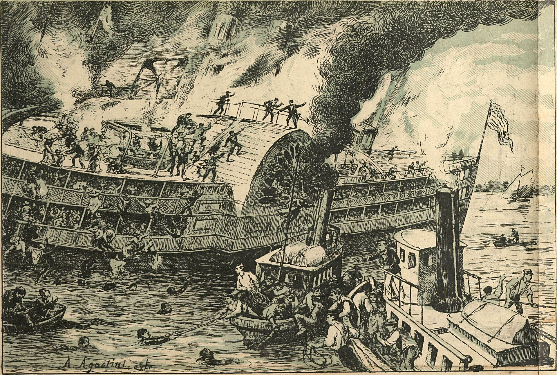 The great catastroph of the passenger steamboat General Slocum (Angelo Agostini, O Malho, 1904).