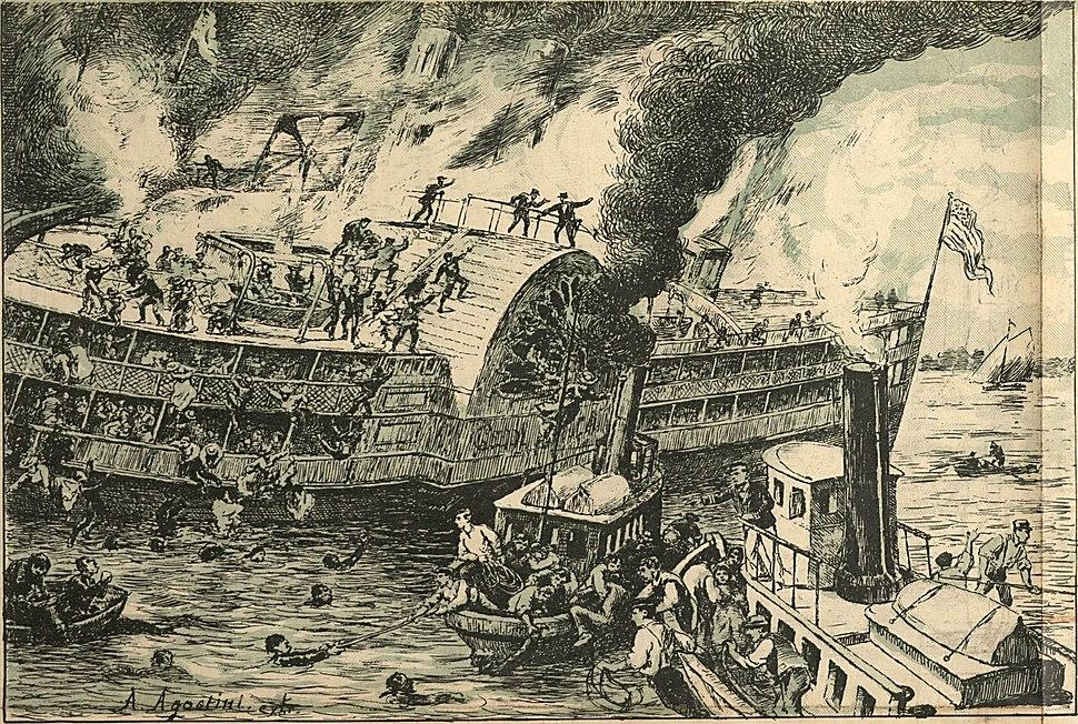 EM NOVA-YORK. A grande catastrophe do vapor de passeio General Slocum. Morte horrível de 1.200 pessoas!