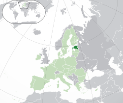 Location of  Estonia  (dark green)– in Europe  (green & dark grey)– in the European Union  (green)  —  [Legend]