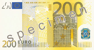 200 euro note - Image: EUR 200 obverse (2002 issue)