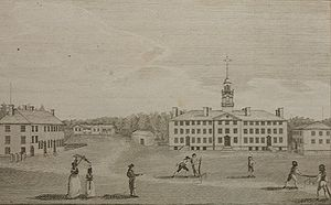 Moor's Charity School - The earliest known image of Dartmouth College, which appeared in the February 1793 issue of Massachusetts Magazine, illustrated a brief article on the college. The artist, Josiah Dunham, a member of the Class of 1789, was a preceptor at Moor's Indian Charity School at the time.