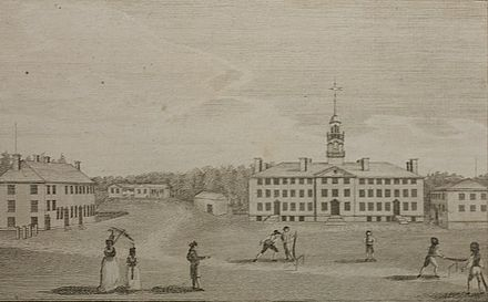 The earliest known image of Dartmouth appeared in the February 1793 issue of Massachusetts Magazine. The engraving may also be the first visual proof of cricket being played in the United States. Early Dartmouth Dunham.jpg