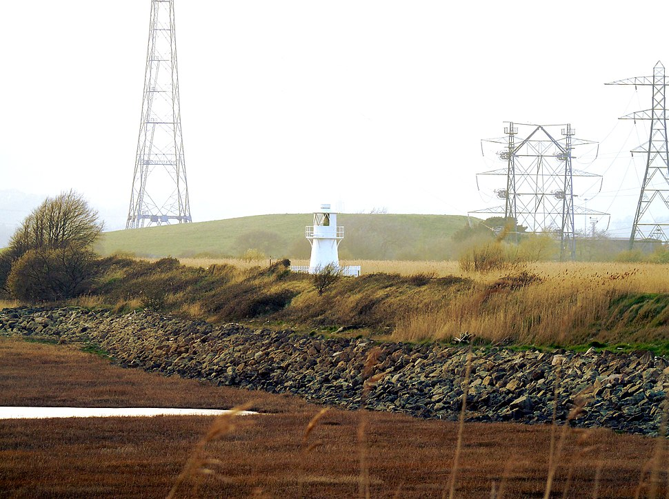 East Usk Lighthouse at Newport Wetlands RSPB Nature Reserve From Distance