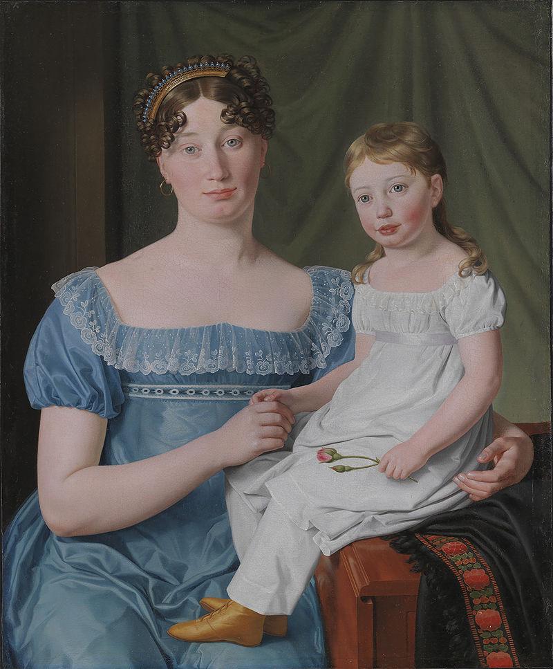 Eckersberg, CW - Kammerherreinde Sophie Hedvig Løvenskiold og hendes treårige datter Berthe Henriette - 1817.jpeg
