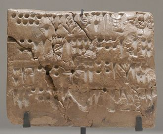 Proto-Elamite - Tablet with numeric signs and script; 3200-2700 BC (Uruk period); clay; from Teppe Sialk; Louvre (Paris)