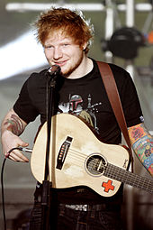 Ed Sheeran playing a guitar.