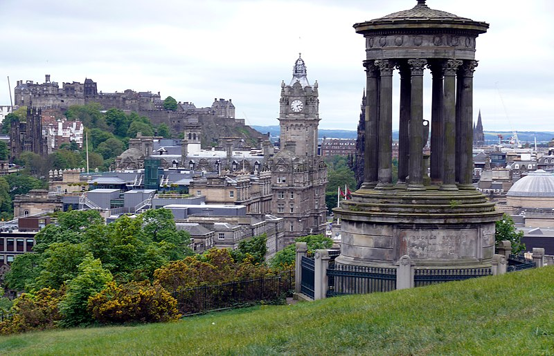 File:Edinburgh from Calton Hill with Dugald Stewart Monument.JPG