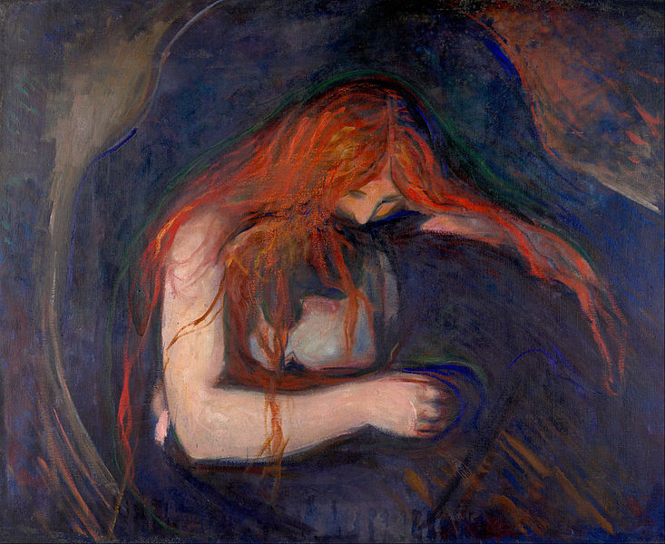 A redheaded woman embracing a vampire drawn in pastels