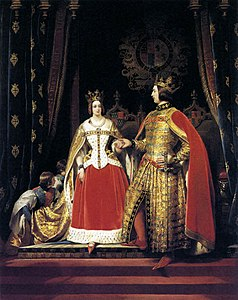 Edwin Landseer - Queen Victoria and Prince Albert at the Bal Costumé of 12 May 1842 - WGA12439.jpg
