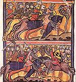 Scènes de batailles tirées de la   Vita Karoli Magni