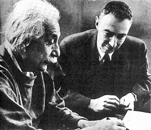 Albert Einstein (left) with J. Robert Oppenhei...