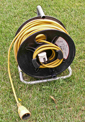Reel - A 250 V 16 A electrical wire on a reel
