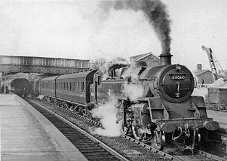 Elstree & Borehamwood railway station - Up local train in 1954