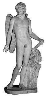 Éros   du type de Centocelle, dit    Éros Farnèse   , copie romaine d après un original traditionnellement attribué à Praxitèle, Naples, musée archéologique national.