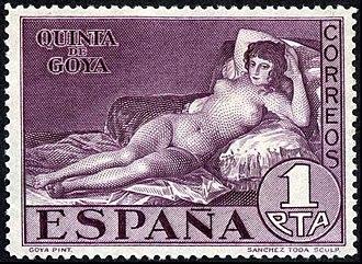 Naked Maja (postage stamps) - Image: Espana 1930majadesnuda 1pta