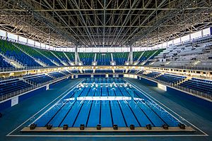 Swimming at the 2016 Summer Olympics - Interior view of the Olympic Aquatics Stadium, the temporary venue used for swimming at the 2016 Summer Olympics.