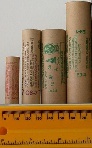 Estes Industries - Estes Rocket motors. From left, 13mm A10-0T, 18mm C6-7, 24mm D12-5, 24mm E9-4