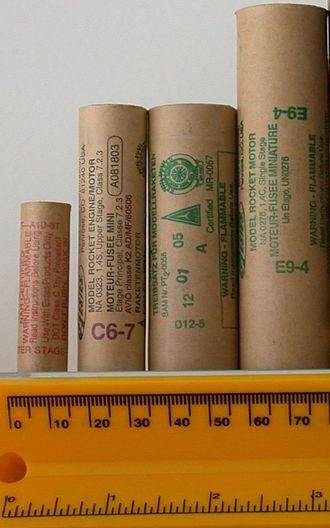 Estes Industries - Estes Rocket motors. From left, 13mm A10-0T, 18mm C6-7, 24mm D12-5, 24mm E9-4