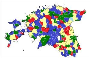 Estonian municipal elections, 2013 - Leading party by municipality.