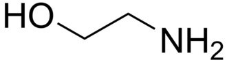 Alkanolamine - Chemical structure of ethanolamine, a simple amino alcohol.