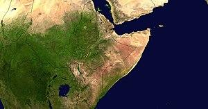 Satellitenaufnahme des Horns von Afrika mit dem Bab al-Mandab