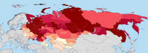 Russian diaspora - Ethnic Russians in former Soviet Union states according to the most recent census