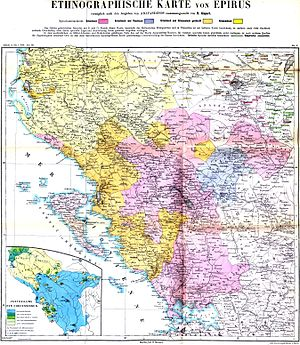 Arvanites - Image: Ethnographic map of Epirus, based on P. Aravandinos, 1878