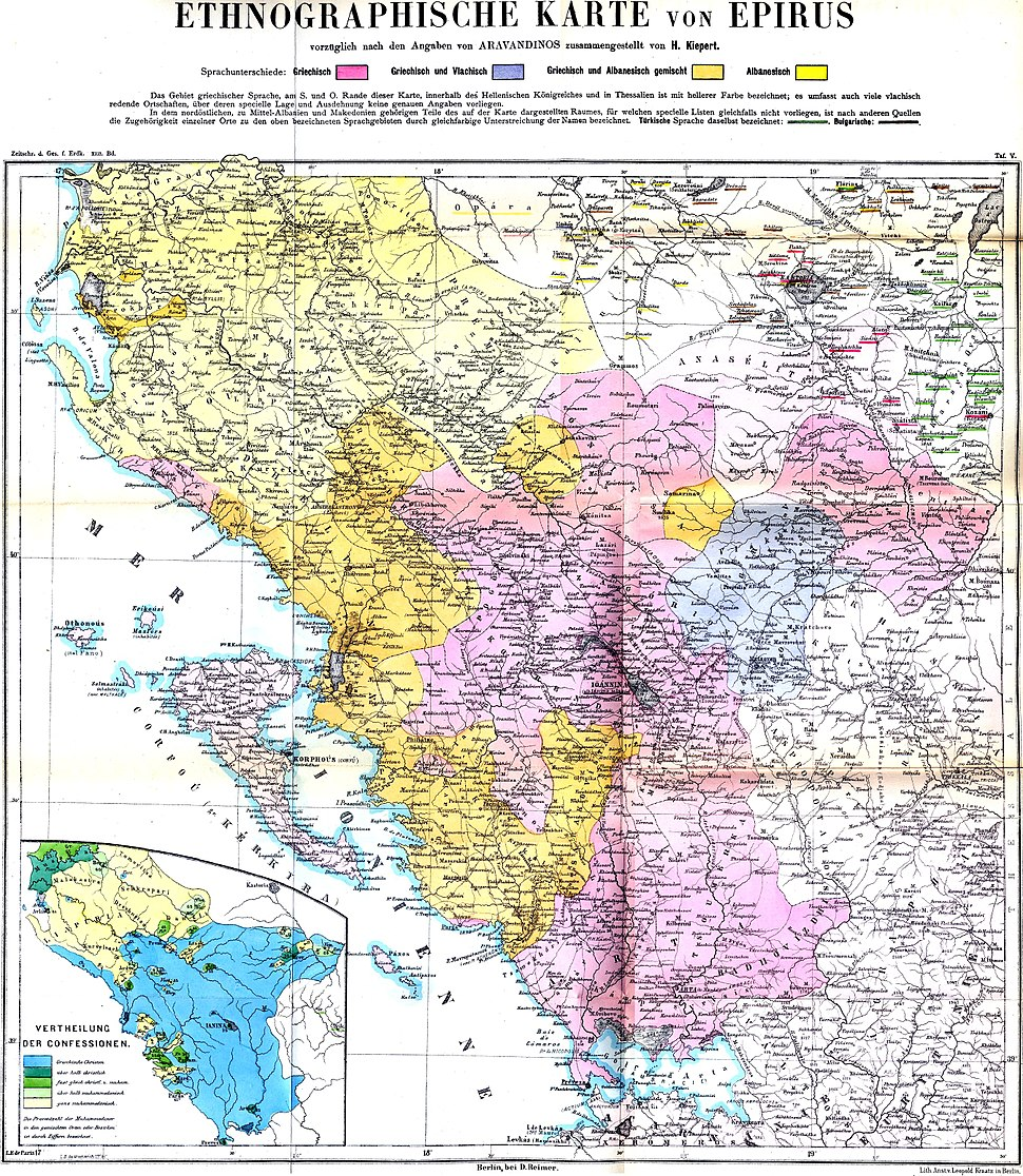 Ethnographic map of Epirus, based on P. Aravandinos, 1878