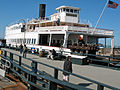"Port-stern view of steam ferryboat ""Eureka"", Hyde Street Pier, San Francisco Maritime National Historic District.."